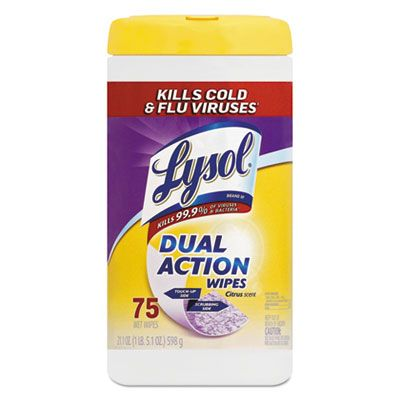 "Reckitt Benckiser 81700 Lysol Dual Action Disinfecting Wipes, 7"" x 8"", Citrus Scent, 75 / Canister - 6 / Case"
