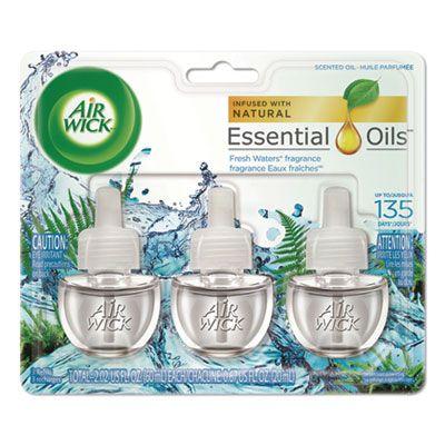Reckitt Benckiser 84473 Air Wick Scented Oil Refill, Fresh Waters, 3 / Pack, 0.67 oz - 6 / Case