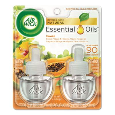 Reckitt Benckiser 85175 Air Wick Scented Oil Refill, 2 / Pack, Hawaii Exotic Papaya & Hibiscus Flower Scent, 0.67 oz - 6 / Case