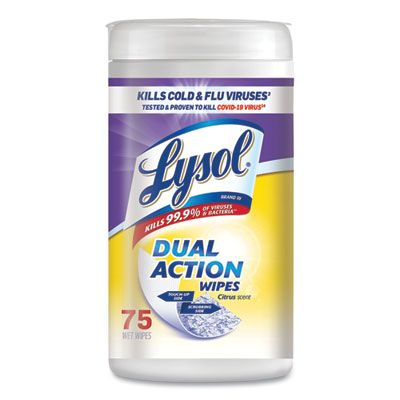 """Reckitt Benckiser 81700 Lysol Dual Action Disinfecting Wipes, 7"""" x 8"""", Citrus Scent, 75 / Canister - 6 / Case"""