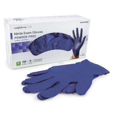McKesson 14-6N34 Confiderm 3.0 Nitrile Exam Gloves w/ Textured Fingertips, Powder Free, Medium, Blue - 250 / Case