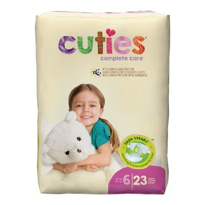 First Quality CR6001 Cuties Baby Diapers, Size 6 (35+ lbs), Heavy Absorbency - 23 / Case