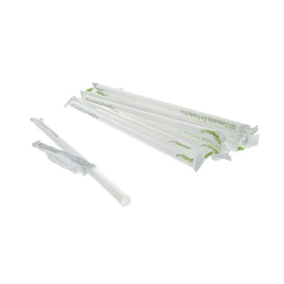 "AmerCareRoyal STNGTL2601002 10.25"" Giant Drinking Straws, PLA Corn-Based Plastic, Wrapped, Clear - 3600 / Case"
