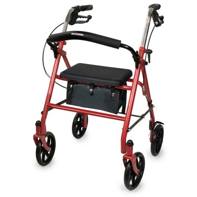 McKesson 146-10257RD-1 4 Wheel Rollator with Sea, Folding, Steel Frame, Red - 1 / Case