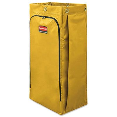 "Rubbermaid 1966881 Vinyl Janitorial Cleaning Cart Bag, 34 Gallon, 17.5"" x 33"", Yellow - 1 / Case"