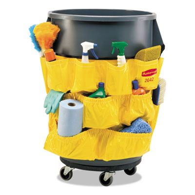 Rubbermaid 264200YW Brute 32 & 44 Gallon Can Skirt / Caddy Bag, 12 Pockets, Yellow - 1 / Case