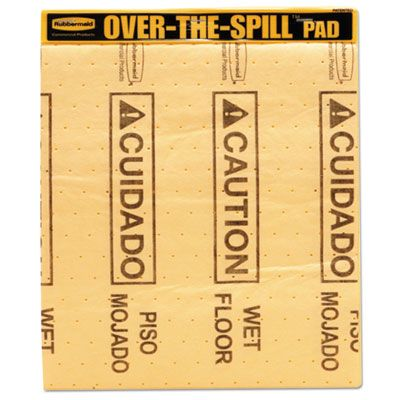 """Rubbermaid 4254 Over-The-Spill Wet Floor Caution Pads, Bilingual, 16-1/2"""" x 14"""", Yellow - 22 / Case"""