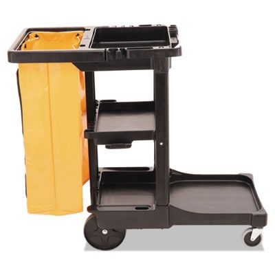 "Rubbermaid 617388 Multi-Shelf Cleaning Cart, 3 Shelf, 20"" x 45"" x 38.25"", Black - 1 / Case"