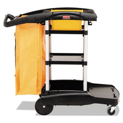 "Rubbermaid 9T7200BK High Capacity Cleaning Cart, 21-3/4"" x 49-3/4"" x 38-3/10"", Black / Yellow - 1 / Case"