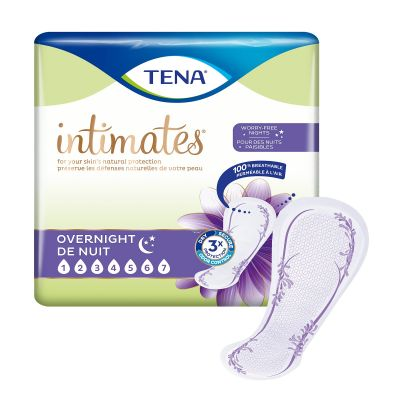 """TENA 54282 Intimates Overnight Incontinence Bladder Control Pads for Women, 16"""", Heavy Absorbency - 28 / Case"""