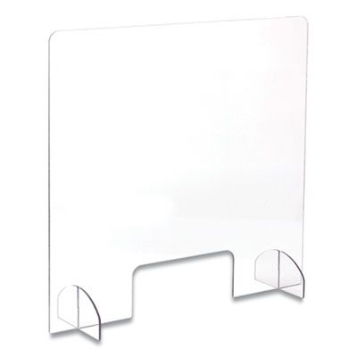 "Safco 7500CL Portable Acrylic Sneeze Guard with Document Pass Through, 30"" x 8"" x 28"", Clear - 1 / Case"