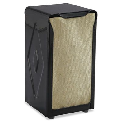 "San Jamar H900BK Tabletop Tall Fold Napkin Dispenser, 3.75"" x 4"" x 7.5"", Black - 1 / Case"