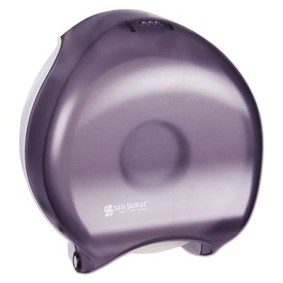 "San Jamar R2000TBK 9"" Jumbo Roll Toilet Paper Dispenser, 10-1/4"" x 12"" x 5-5/8"", Transparent Black Pearl - 1 / Case"