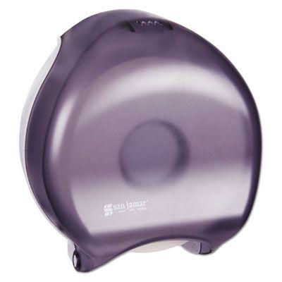 "San Jamar R2000TBK 9"" Jumbo Roll Toilet Paper Dispenser, 10-1/4"" x 12"" x 5-5/8"", Transparent Black Pearl - 1 / Case"