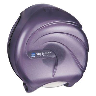 "San Jamar R2090TBK Oceans 9"" Jumbo Roll Toilet Paper Dispenser, 10-1/4"" x 5-5/8"" x 12"", Transparent Black - 1 / Case"