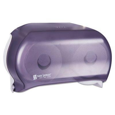 "San Jamar R3600TBK VersaTwin Standard Toilet Paper Roll Dispenser, 8"" x 5.75"" x 12.75"", Transparent Black Pearl - 1 / Case"