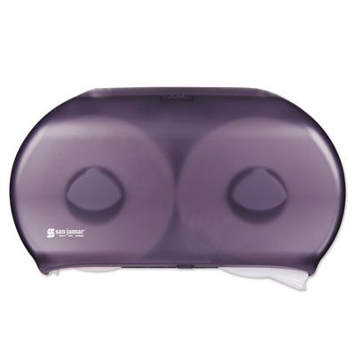 """San Jamar R4000TBK Twin 9"""" Jumbo Roll Toilet Paper Dispenser, 19"""" x 5-1/4"""" x 12"""", Transparent Black Pearl - 1 / Case"""
