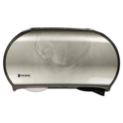 "San Jamar R4070SS Twin 9"" Jumbo Roll Toilet Paper Dispenser, Plastic, 19.25"" x 6"" x 12.25"", Faux Stainless Steel - 1 / Case"