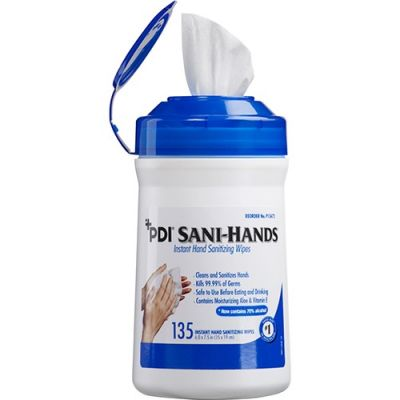 """Nice-Pak P13472 Sani-Hands Hand Sanitizing Wipes, Alcohol, 6"""" x 7.5"""", 135 / Canister - 12 / Case"""