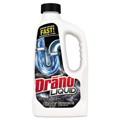 SC Johnson 318593 Drano Liquid Drain Cleaner, 32 oz Safety Cap Bottle - 12 / Case