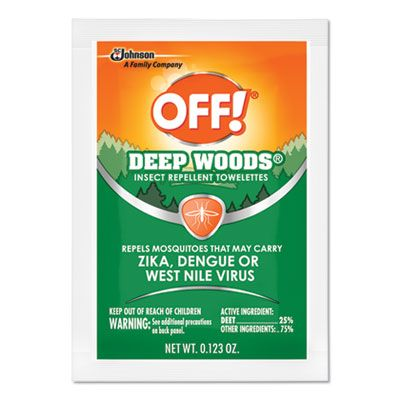 SC Johnson 611072 OFF! Deep Woods DEET Insect Repelling Wipes - 144 / Case