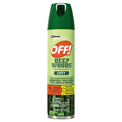 SC Johnson 616304 OFF! Deep Woods Dry Insect Repellent Spray, 4 oz Aerosol Can - 12 / Case