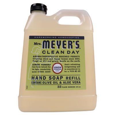 SC Johnson 651327 Mrs. Meyer's Clean Day Liquid Hand Soap Refill, Lemon Scent, 33 oz Bottle - 6 / Case