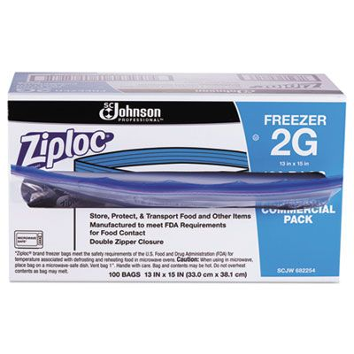 SC Johnson 682254 Commercial Ziploc 2 Gallon Freezer Bags, Clear - 100 / Case