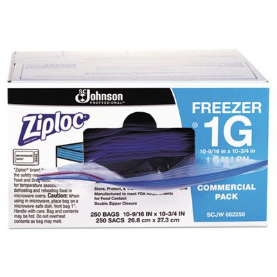 "SC Johnson 682258 Ziploc Commercial 1 Gallon Freezer Bags, 2.7 Mil, 10-9/16"" x 10-3/4"", Clear - 250 / Case"