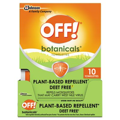 SC Johnson 694974 OFF! Botanicals Insect Repellant Wipes - 80 / Case