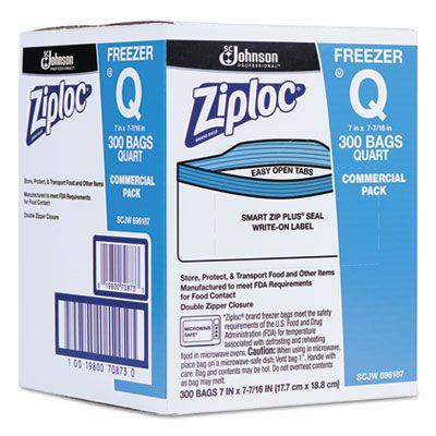 SC Johnson 696187 Ziploc Quart Freezer Bags, Double Zipper, Clear with Label - 300 / Case