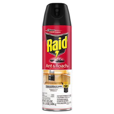 SC Johnson 697318 Raid Ant & Roach Killer Spray, Fragrance Free, 17.5 oz Aerosol Can - 12 / Case