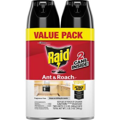SC Johnson 697322 Raid Ant & Roach Insect Killer Spray, 17.5 oz Can - 2 / Case