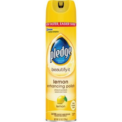SC Johnson 697831 Pledge Furniture Spray Beautify It Lemon Enhancing Polish, 9.7 oz Spray Can - 12 / Case