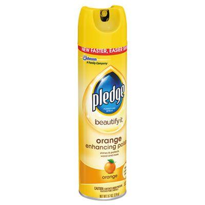 SC Johnson 697834 Pledge Furniture Polish Spray, Orange Clean Scent, 9.7 oz Aerosol Can - 12 / Case