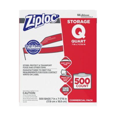 """SC Johnson 682256 Commercial Ziploc Quart Bags, Plastic, Zipper, 1.75 Mil, 7"""" x 8"""", Clear - 500 / Case"""