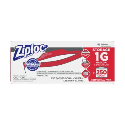 """SC Johnson 682257 Commercial Ziploc Gallon Bags, Plastic, Zipper, 10.5"""" x 11"""", Clear - 250 / Case"""
