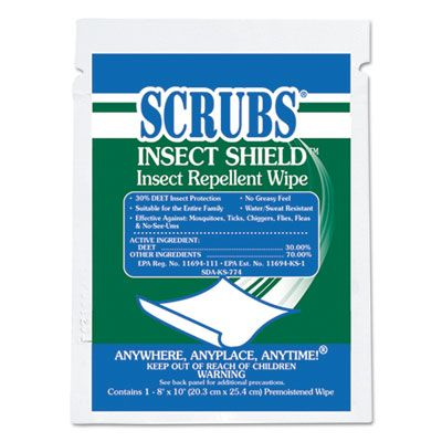 Scrubs 91401 Insect Shield Insect Repellent Wipes, Individually Wrapped - 100 / Case