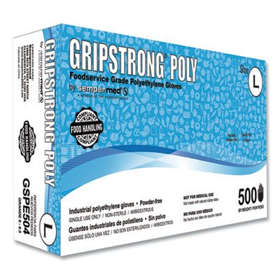 SemperMed GSPE504 GripStrong Poly Disposable Foodservice Gloves, Polyethylene, Powder-Free, Large, Clear - 10000 / Case