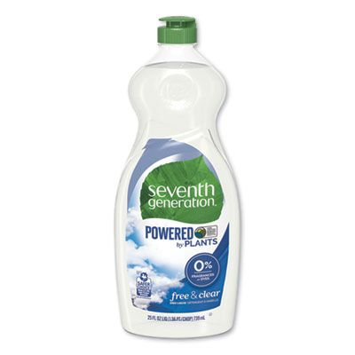 Seventh Generation 22733 Natural Dish Liquid Soap, Free & Clear, 25 oz Bottle - 12 / Case