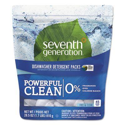 Seventh Generation 22897 Dishwasher Detergent Powder Packs, Free & Clear, 0.63 oz - 45 / Case