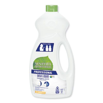 Seventh Generation 44719 Free & Clear Manual Dishwasing Liquid Detergent, 50 oz - 6 / Case