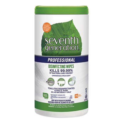 "Seventh Generation 44753 Disinfecting Multi-Surface Wipes, 8"" x 7"", Lemongrass Citrus Scent, 70 / Canister - 6 / Case"