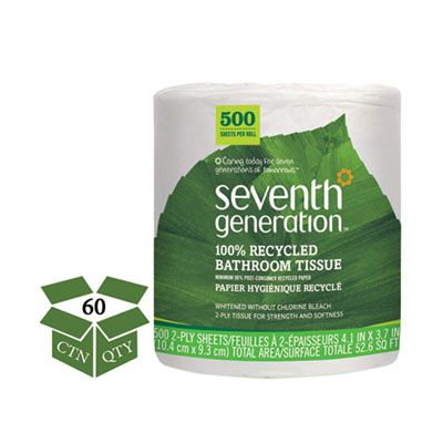 Seventh Generation 137038 Toilet Paper, 2 Ply, Recycled, 500 Sheets / Roll - 60 / Case
