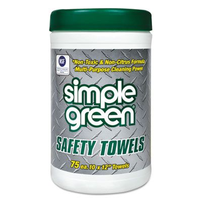 "Simple Green 13351 Safety Towels, 10"" x 11-3/4"", 75 Wipes / Tub - 6 / Case"