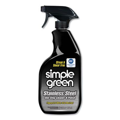 Simple Green 18300 Stainless Steel One-Step Cleaner & Polish, 32 oz Spray Bottle - 12 / Case