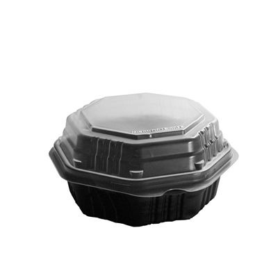 """Solo 806011-PP94 Creative Carryouts OctaView Hinged Lid Plastic Food Containers, Vented, Polypropylene, 6.8"""" x 6.3"""" x 3.1"""", Black Base / Clear Lid - 200 / Case"""