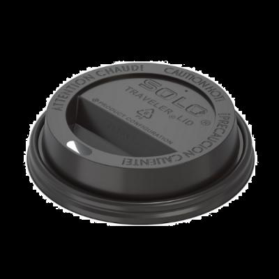 Solo TL38B2-0004 Traveler Lid for Solo 8 oz Paper Hot Cups, Black - 1000 / Case