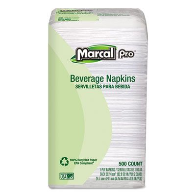Soundview 28 Marcal Pro Paper Beverage Napkins, 1 Ply, White - 4000 / Case
