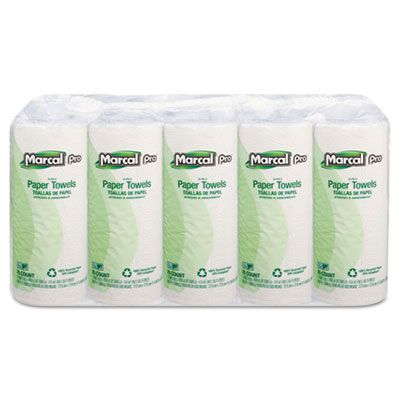 "Soundview 610 Marcal Pro Paper Towel Roll, 2 Ply, Recycled, 70 Perforated Sheets / Roll, 11"" x 9"", White - 15 / Case"